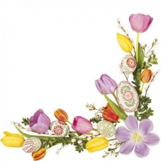 Tulpen, Weidenkätzchen, Buchsbaumblätter & bunte Eier - Tulips, pussy willow, boxwood leaves & colorful eggs apple blossom - Tulipes, saule, feuilles de buis et oeufs colorés fleur de pommier