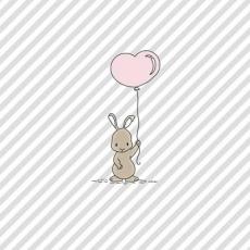 kleiner Hase mit einen Herzballon - little bunny with a heart balloon - petit lapin avec un ballon de coeur