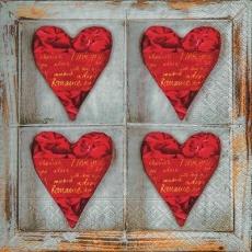 4 romantische Rosenherzen im Holzfenster - 4 romantic rose hearts in the wooden window - 4 coeurs roses romantiques dans la fenêtre en bois