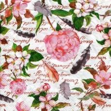 Rosen, Obstblüten, Federn auf Geschriebenes - Roses, fruit blossoms, feathers on written - Roses, fleurs de fruits, plumes écrites