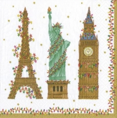 Caspari - Eiffelturm, Freiheitsstatue & Big Ben geschmückt mit Lichterketten -  Eiffel Tower, Statue of Liberty & Big Ben decorated with fairy lights - Tour Eiffel, Statue de la Liberté et Big Ben orn