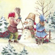 Kinder bauen einen Schneemann - Children build a snowman - Les enfants construisent un bonhomme de neige