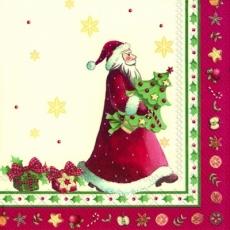 Weihnachtsmann mit einem Weihnachtsbaum unter dem Arm - Santa Claus with a Christmas tree under his arm - Père Noël avec un arbre de Noël sous le bras