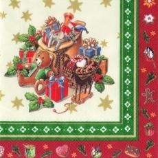 4 verschiedene Weihnachtsmotive, Weihnachtsmann mit Kindern, Holzeisenbahn, Holzsoldat & 1 Sack voller Geschenke - 4 different Christmas motives, Santa Claus with children, wooden train, wooden soldie