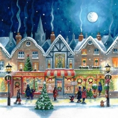 eine Einkaufsstrasse, weihnachtlich geschmückt - a shopping street, decorated for Christmas - une rue commerçante, décorée pour Noël