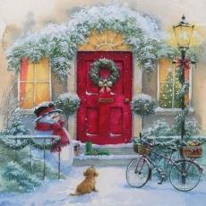 winterlicher Hauseingang mit Hund, Schneemann & Fahrrad an der Laterne -  - Wintery house entrance with dog, snowman & bike at the lantern - Entrée de la maison hivernale avec chien, bonhomme de neige