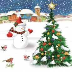 Schneemann & Rotkehlchen bestaunen den Weihnachtsbaum - Snowman & Robins marvel at the Christmas tree - Snowman & Robins s émerveiller devant l arbre de Noël