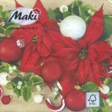 Weihnachtsstern & Baumschmuck - Poinsettia & tree decorations - Décorations de poinsettia et d arbres