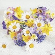Blumenherz aus Osterglocke, Stiefmütterchen und anderen Blumen - Flower heart made of daffodil, pansies and other flowers - Coeur de fleurs composé de jonquille, de pensées et d autres fleurs