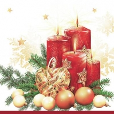rote Adventskerzen, Tannengrün & Baumschmuck - red Advent candles, fir green & tree decorations - bougies de l Avent rouges, décorations vert sapin et arbre