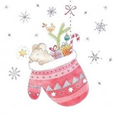 Mäuslein & Vöglein schlafen im Weihnachtshandschuh voller Geschenke - Little Mouse & Little Birds sleep in Christmas glove full of gifts - Petite souris et petits oiseaux dorment dans un gant de Noël