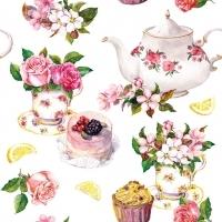 zarte Rosen, Cupcake, Zitronen, Törtchen, Kanne & Tasse mit Blümchen - Delicate roses, cupcake, lemons, tarts, jug & cup with flowers - Roses délicates, cupcake, citrons, tartes, pichet et tasse avec