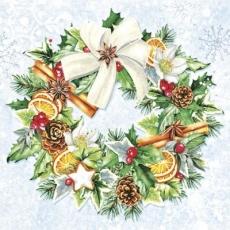 Kranz aus Zweigen, Zapfen, Früchte, Ilex & Schleife - Wreath of branches, cones, fruits, Ilex & loop - Guirlande de branches, cônes, fruits, Ilex & boucle