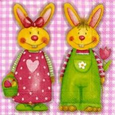Lustiges Osterhasenpaar - Cute Easter bunny couple - Couple de lapin de Pâques mignon