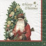 Old nostalgic Santa green - Merry Christmas