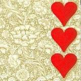 Blumige Herzen rot/gold
