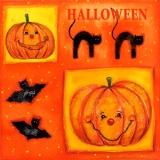 Fledermäuse, schwarz Katze & Kürbis - Halloween