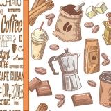 Kaffeezeit, Kaffeebohne, Würfelzucker, Mokkakanne, Schokolade