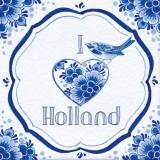 Holland Kachel mit Herz und Vogel