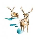 2 gemalte Hirsche