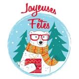 Eisbär mit Brille und Schal bringt ein Geschenk