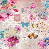 bunte Schmetterlinge besuchen bunte Blumen, Uhr und Briefmarke