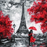 verliebtes Paar am Eiffelturm in der Nacht