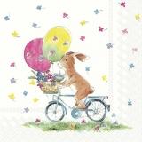 kleiner Hase fährt mit 2 Luftballons Fahrrad