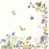 Schmetterlinge, Vögel an Blüten Blumenranke