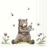 Knuddelbär mit Blumen und Bienen