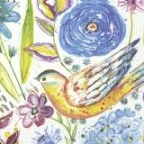 gemalte Hortensien und Vogel