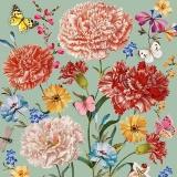 Schmetterlinge, Marienkäfer besuchen Nelken und andere Blumen mint