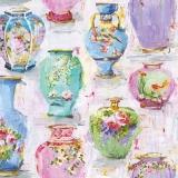 Bunte Vasen mit Blütenzweigen, Seerosen und Fische