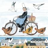 Frau auf Fahrrad mit Picknickkorb, 3 Hühnern und 2 Möven