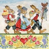 Drei Hasen sind mit vollen Körben auf Osterspatziergang