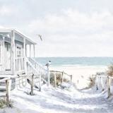 Strandhütte mit Hängematte am Meer mit Möwen