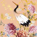 Wunderschöner Storch mit goldenen Schmetterlinge umgeben von wunderschönen Blüten