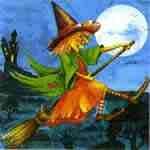 Hexe auf einen Besen fliegt durch die Nacht