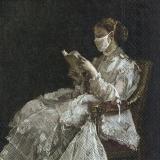 Wunderschöne Dame liest Buch mit Mundschutz
