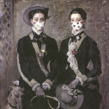 Zwillinge mit Maske