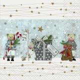 3 Teddybären mit großem Geschenk, Zuckerstange, Glocke und Geschenkesack