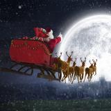 Weihnachtsmann fliegt mit seinem Schlitten zum Mond
