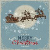 Der Weihnachtsmann fliegt mit seinen Retieren