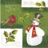 Kleiner Vogel beim Schneemann - bird at the Snowman - oiseau au bonhomme de neige