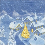 Verschneites Dorf mit Kirche - Snowy village with church - Village enneigé avec léglise