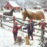 Zwei Kinder mit ihrem Hund beim Pferde füttern mit Karotten am geschmückten Koppelzaun