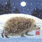 Igel Max läuft am verschneiten Weihnachtsabend mit einem Geschenk zur Bescherung