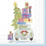 Auto mit vielen Geschenken und geschmückten Baum mit Stern