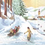 4 Rodelfreunde und eine Dame auf Ski