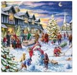 Kinder bauen eine Schneemann beim abentlichen Treiben in der Vorweihnachtszeit auf dem Marktplatz